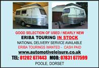 Good selection of used / nearly new Eriba Touring in stock